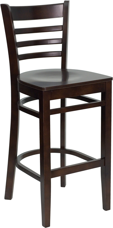 Flash Furniture HERCULES Series Walnut Finished Ladder Back Wooden Restaurant Bar Stool [XU-DGW0005BARLAD-WAL-GG]