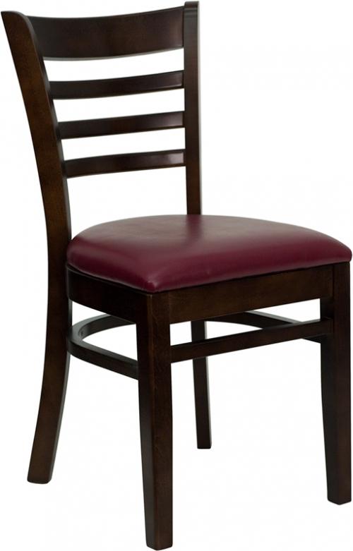 Flash Furniture HERCULES Series Walnut Finished Ladder Back Wooden Restaurant Chair with Burgundy Vinyl Seat [XU-DGW0005LAD-WAL-BURV-GG]