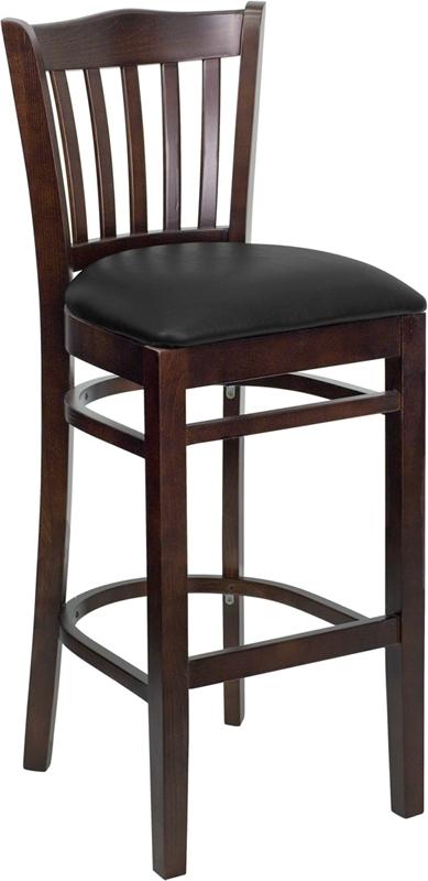 Flash Furniture HERCULES Series Walnut Finished Vertical Slat Back Wooden Restaurant Bar Stool with Black Vinyl Seat [XU-DGW0008BARVRT-WAL-BLKV-GG]