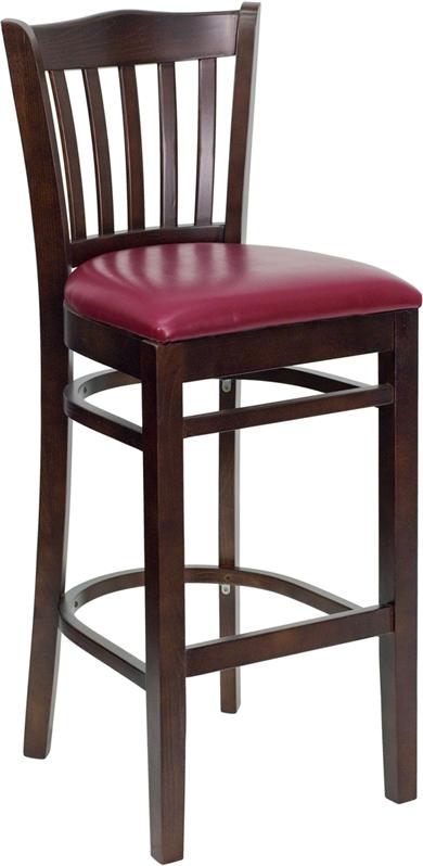 Flash Furniture HERCULES Series Walnut Finished Vertical Slat Back Wooden Restaurant Bar Stool with Burgundy Vinyl Seat [XU-DGW0008BARVRT-WAL-BURV-GG]