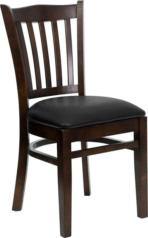 Flash Furniture HERCULES Series Walnut Finished Vertical Slat Back Wooden Restaurant Chair with Black Vinyl Seat [XU-DGW0008VRT-WAL-BLKV-GG]