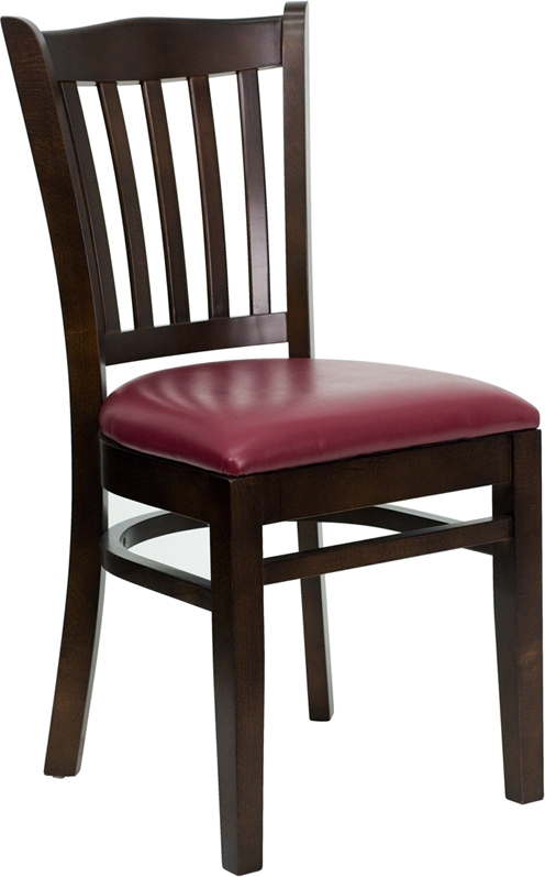 Flash Furniture HERCULES Series Walnut Finished Vertical Slat Back Wooden Restaurant Chair with Burgundy Vinyl Seat [XU-DGW0008VRT-WAL-BURV-GG]