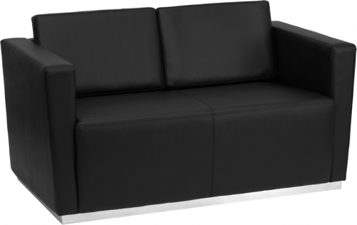 Flash Furniture HERCULES Trinity Series Flash Furniture Contemporary Black Leather Love Seat with Stainless Steel Base [ZB-TRINITY-8094-LS-BK-GG]