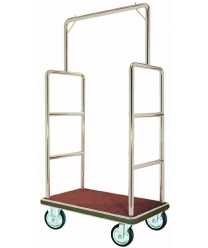 Aarco LC-1C Bellman's Luggage Cart, Chome with Carpeted Bed and Hanger Rail