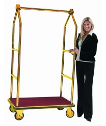 Aarco LC-2B Bellman's Luggage Cart, Brass with Carpeted Bed