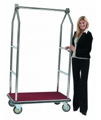 Aarco LC-2C  Bellman's Luggage Cart, Chrome with Carpeted Bed