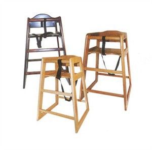Winco CHH-103 Mahogany Finish Wooden Stacking High Chair, Unassembled