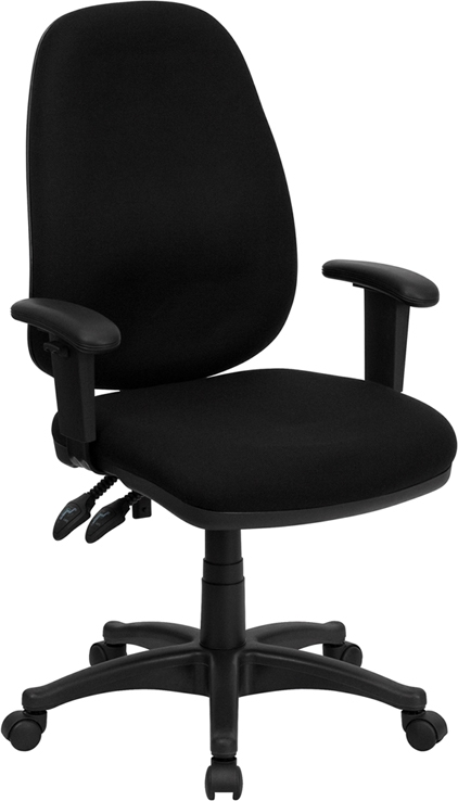 Flash Furniture High Back Black Fabric Ergonomic Computer Chair with Height Adjustable Arms [BT-661-BK-GG]