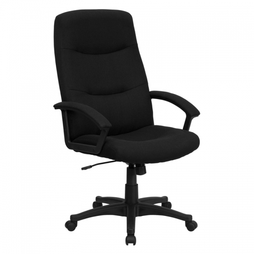 Flash Furniture High Back Black Fabric Executive Swivel Office Chair [BT-134A-BK-GG]