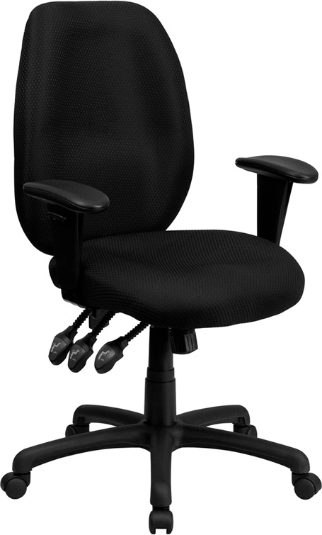 Flash Furniture High Back Black Fabric Multi-Functional Ergonomic Task Chair with Arms [BT-6191H-BK-GG]