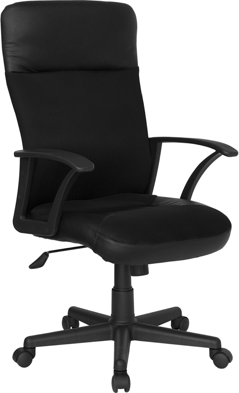 Flash Furniture High Back Black Leather / Mesh Combination Executive Swivel Office Chair [CP-A142A01-GG]