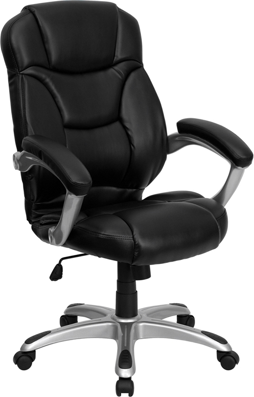 Flash Furniture High Back Black Leather Flash Furniture Contemporary Office Chair [GO-725-BK-LEA-GG]