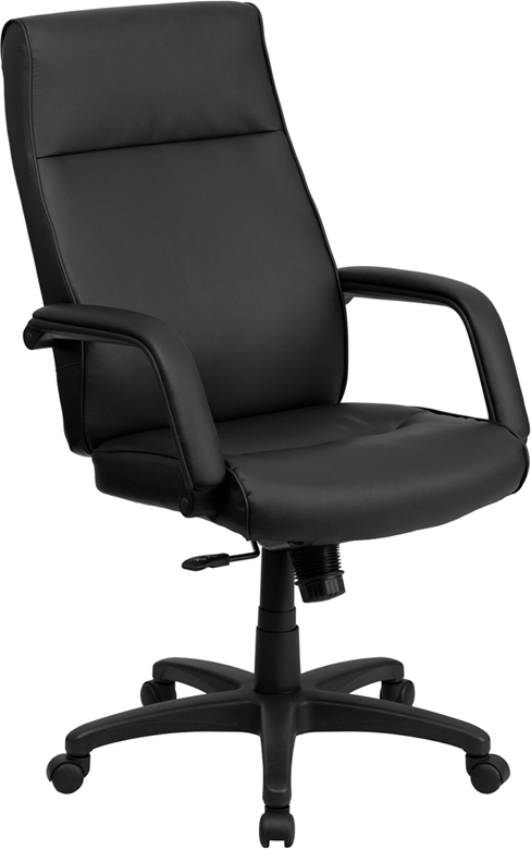 Flash Furniture High Back Black Leather Executive Office Chair with Memory Foam Padding [BT-90033H-BK-GG]