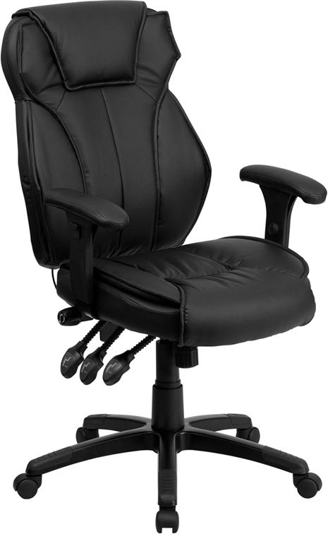 Flash Furniture High Back Black Leather Executive Office Chair with Triple Paddle Control [BT-9835H-GG]