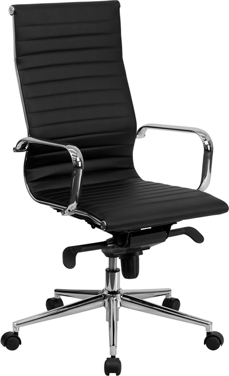 Flash Furniture High Back Black Ribbed Upholstered Leather Executive Office Chair [BT-9826H-BK-GG]