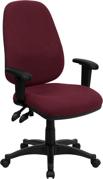 Flash Furniture High Back Burgundy Fabric Ergonomic Computer Chair with Height Adjustable Arms [BT-661-BY-GG]