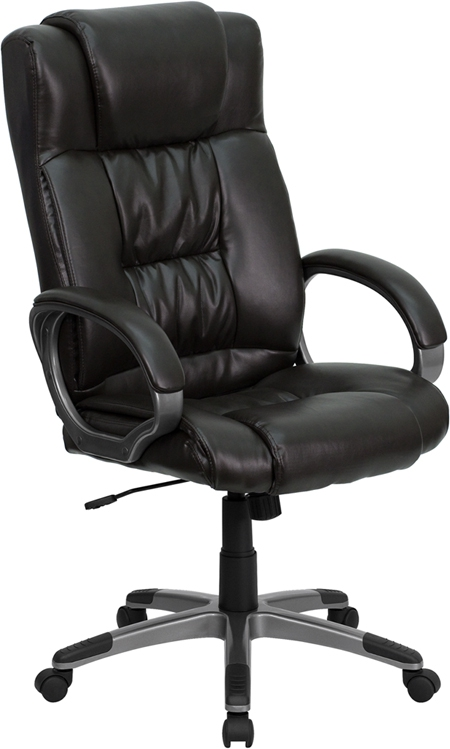 Flash Furniture High Back Espresso Brown Leather Executive Office Chair [BT-9002H-BRN-GG]
