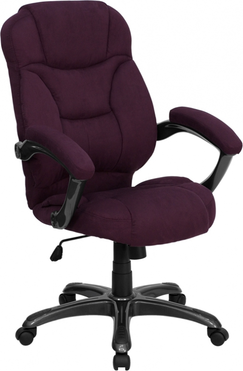 Flash Furniture High Back Grape Microfiber Upholstered Flash Furniture Contemporary Office Chair [GO-725-GRPE-GG]