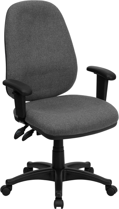 Flash Furniture High Back Flash Furniture Gray Fabric Ergonomic Computer Chair with Height Adjustable Arms [BT-661-GR-GG]