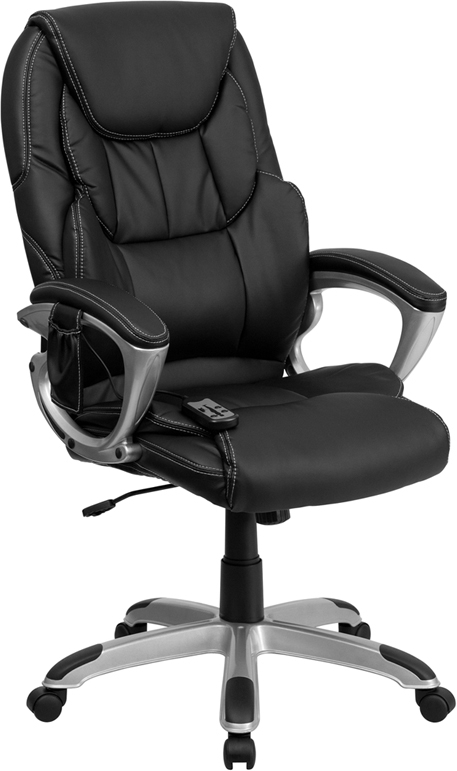 Flash Furniture High Back Flash Furniture Massaging  Black Leather Executive Office Chair with Silver Base [BT-9806HP-2-GG]
