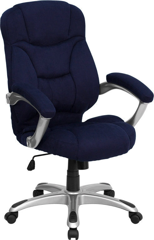 Flash Furniture High Back Navy Blue Microfiber Upholstered Flash Furniture Contemporary Office Chair [GO-725-NVY-GG]
