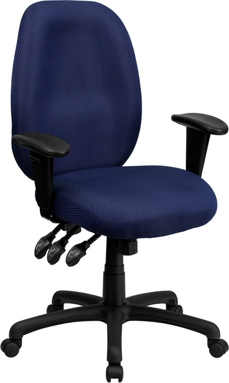 Flash Furniture High Back Navy Fabric Multi-Functional Ergonomic Task Chair with Arms [BT-6191H-NY-GG]