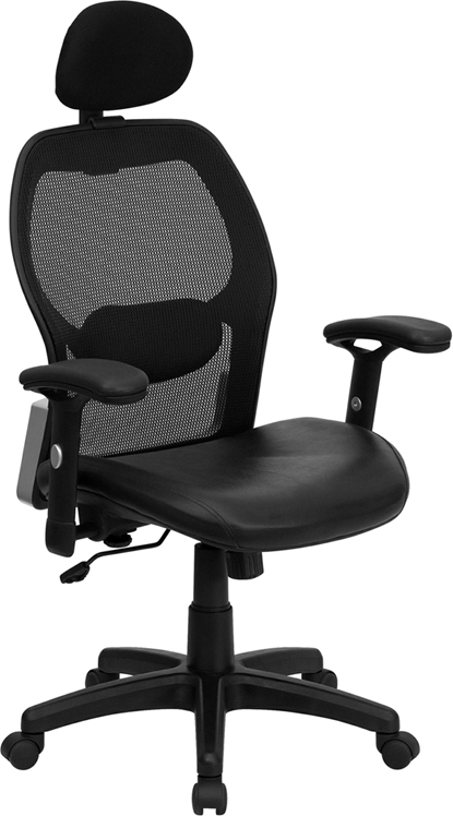 Flash Furniture High Back Super Mesh Office Chair with Black Italian Leather Seat [LF-W42B-L-HR-GG]