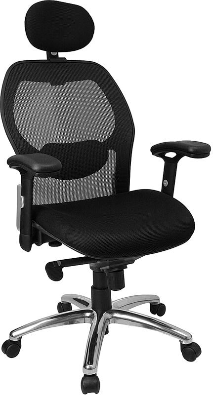 Flash Furniture High Back Super Mesh Office Chair with Black Fabric Seat and Knee Tilt Control [LF-W42-HR-GG]