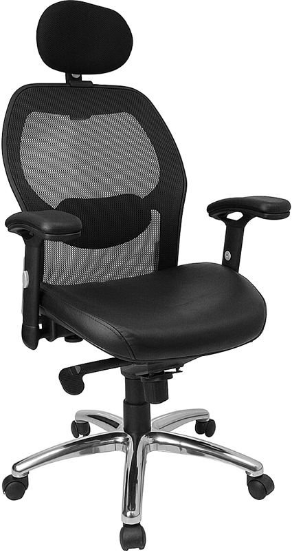 Flash Furniture High Back Super Mesh Office Chair with Black Italian Leather Seat and Knee Tilt Control [LF-W42-L-HR-GG]