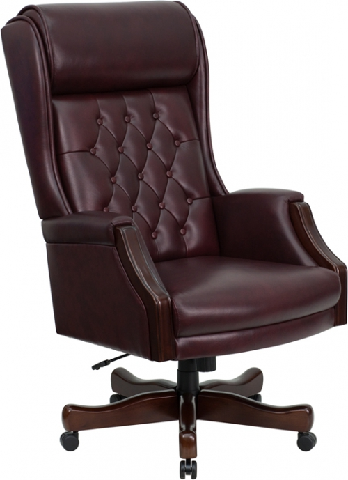Flash Furniture High Back Traditional Tufted Flash Furniture Burgundy Leather Executive Office Chair [KC-C696TG-GG]