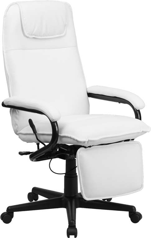 Flash Furniture High Back Flash Furniture White Leather Executive Reclining Office Chair [BT-70172-WH-GG]