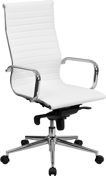 Flash Furniture High Back White Ribbed Upholstered Leather Executive Office Chair [BT-9826H-WH-GG]