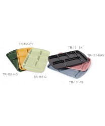 "GET Enterprises TR-151-HG Hunter Green Melamine Right Hand 6 Compartment Tray, 10""x 15-1/2""(1 Dozen)"