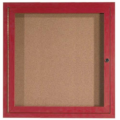Aarco DCCW3636R 1 Door Indoor Enclosed Bulletin Board with Aluminum Wood-Look Cherry Finish 36