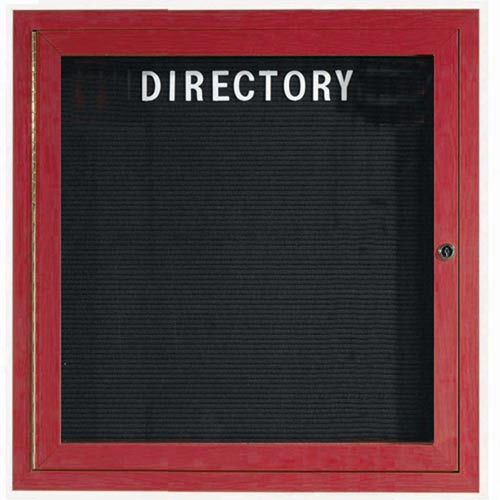 Aarco ADCW3636R Indoor Enclosed Directory Board with Aluminum Wood-Look Cherry Finish 36