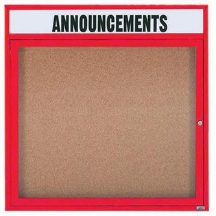 """Aarco DCC3636RHIR 1 Door Indoor Illuminated Enclosed Bulletin Board with Red Powder Coated Frame and Header 36"""" x 36"""""""