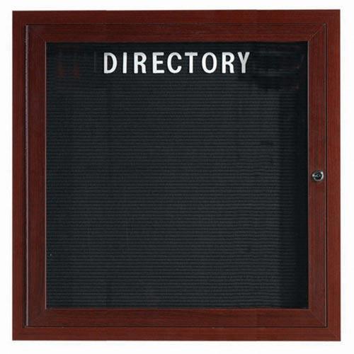 Aarco ADCWW3636R Indoor Enclosed Directory Board with Aluminum Wood-Look Walnut Finish 36