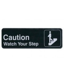 "Winco SGN-326 Information Sign  ''Caution / Watch Your Step''  3"" x 9"""