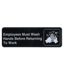 "Winco SGN-322 Information Sign  ''Employees Must Wash Hands Before Returning To Work''  3"" x 9"""