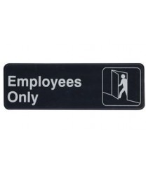 "Winco SGN-305 Information Sign  ''Employees Only''  3"" x 9"""