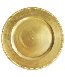 Jay Imports TRG-6655 Round Gold Beaded Charger Plate