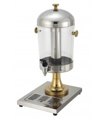 Winco 901 Stainless Steel Juice Dispenser with Gold Accents 7-1/2 Qt.