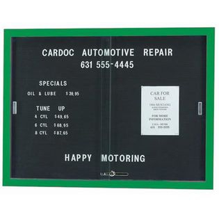 "Aarco SDC3648G Enclosed Directory Board with Sliding Doors and Green Powder Coated Frame  36"" x 48"""