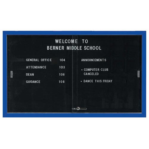 """Aarco SDC3660B Enclosed Directory Board with Sliding Doors and Blue Powder Coated Aluminum Frame  36"""" x 60"""""""
