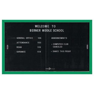 "Aarco SDC3660G Enclosed Directory Board with Sliding Doors and Green Powder Coated Aluminum Frame  36"" x 60"""