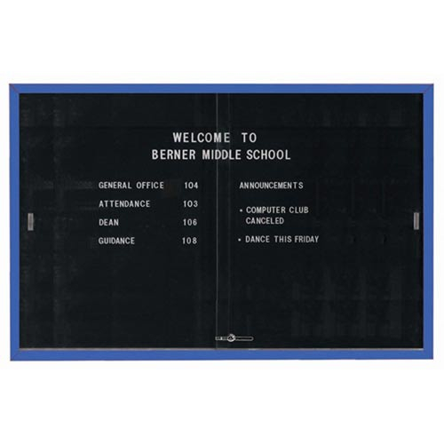 """Aarco SDC4872B Enclosed Directory Board with Sliding Doors and Blue Powder Coated Aluminum Frame  48"""" x 72"""""""