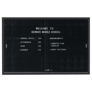 """Aarco SDC4872BK Enclosed Directory Board with Sliding Doors and Black Powder Coated Aluminum Frame  48"""" x 72"""""""