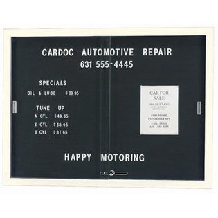 """Aarco SDC4872W Enclosed Directory Board with Sliding Doors and White Powder Coated Aluminum Frame  48"""" x 72"""""""