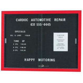 """Aarco SDC3648R Enclosed Directory Board with Sliding Doors and Red Powder Coated Aluminum  Frame  36"""" x 48"""""""