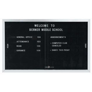 "Aarco SDC3660 Enclosed Directory Board with Sliding Doors and Aluminum Frame  36"" x 60"""